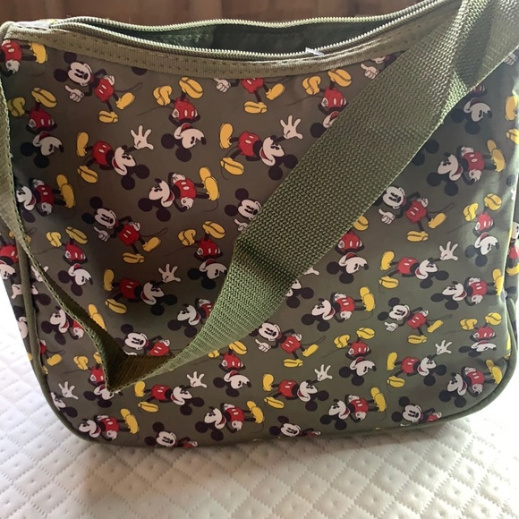 Mickey Mouse Canvas Tote. Olive Green